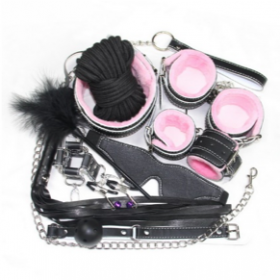 10 piece 2 tone BDSM kit - Pink & Black